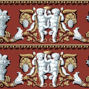 baroque Victorian cherubs angels boys children putti toddler flourish fruits grapes leaves leaf basket acanthus chalice wine glass peaches apples brown white rococo vines