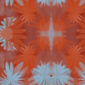 Deep Red Kaleidoscope Floral