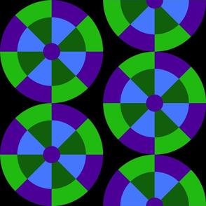 Split Four Blades Greens Purples