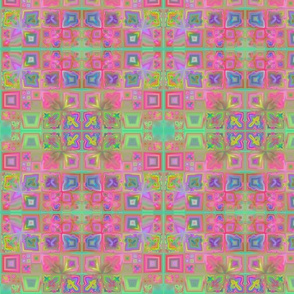 Warm Pink and Green Tiled Fractal
