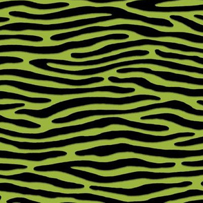 ★ ZEBRA OR TIGER ? ★ Psychobilly Green – Small Scale - Horizontal / Collection : Wild Stripes – Punk Rock Animal Prints 2