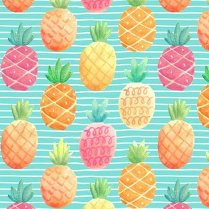 Watercolor Pineapples (aloha blue stripe) SMALLER scale