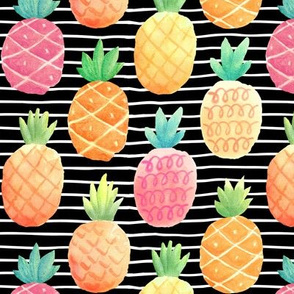 Watercolor Pineapples (black stripes)