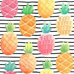 Watercolor Pineapples - black + white stripes