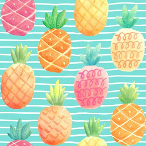 Watercolor Pineapples (aloha blue stripe) LARGER scale