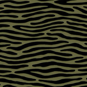 ★ ZEBRA OR TIGER ? ★ Camo Olive Green – Small Scale - Horizontal / Collection : Wild Stripes – Punk Rock Animal Prints 2