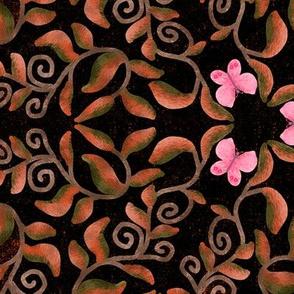 Retro Bronze Vines with Pink Butterflies on Black