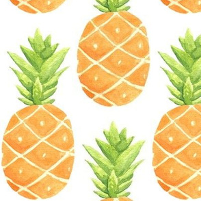 Watercolor Pineapples - LARGER scale
