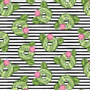 (small scale) cactus donuts  - black stripes - doughnut - LAD19BS