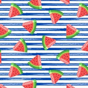 (small scale)  watermelons (red on blue stripes) - summer fruit fabric - LAD19BS