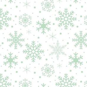 Snowflakes Smoky Green White