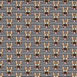 "(1"" scale) German Shepherd (black stripes on grey with glasses) C19BS"