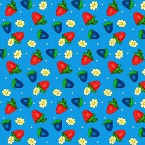 Vintage Strawberry Clusters-Flowers  w/ Blue Strawberries