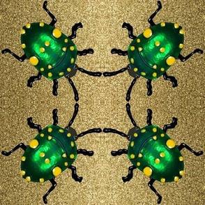 Scarab Green Beetle on Glitter Sand