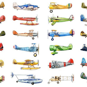 Vintage Airplane Collection on white