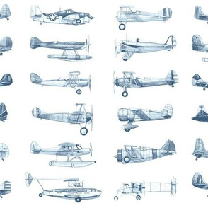 vintage plane collection blue on white