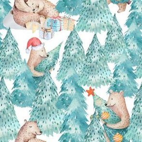 """7"""" Woodland Bears celebrate christmas in forest"""