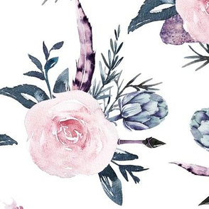"""13"""" Bohemian Florals blush and Gray with hand drawn feathers"""