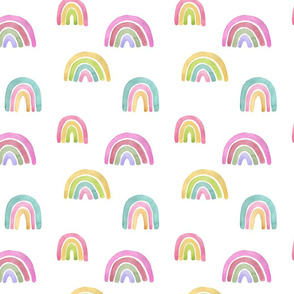 "7"" Rainbows in the sky, rainbow fabric, baby fabric,nursery fabric and rainbows nursery"