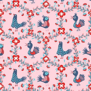blue birds in flower wreaths