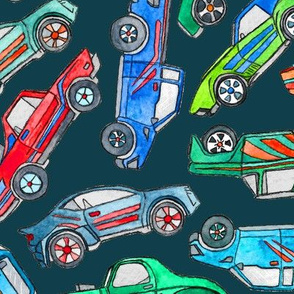 Toy Car Pile Up on Dark Teal - extra large