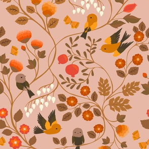 Fruit Birds Chinoiserie {Blush}