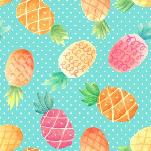 Watercolor Pineapples (aloha blue dot)