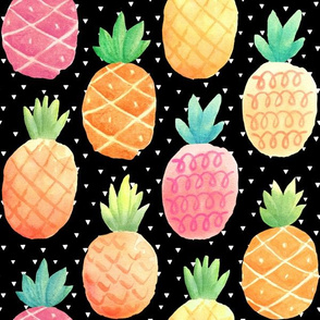 Watercolor Pineapples - black w/ tiny triangles