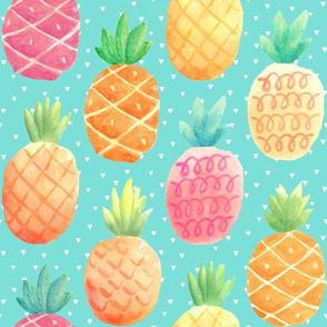 Watercolor Pineapples - aloha blue w/ tiny triangles