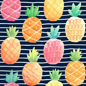 Watercolor Pineapples - navy stripes