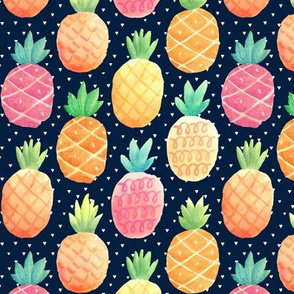 Watercolor Pineapples - navy w/ tiny triangles