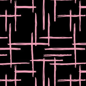 Abstract geometric minimal stripes checkered stripe trend pattern grid black pink