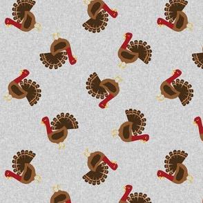 turkey toss fabric - turkey fabric, thanksgiving fabric, fall, usa, american holiday - grey