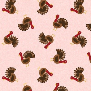 turkey toss fabric - turkey fabric, thanksgiving fabric, fall, usa, american holiday - pink