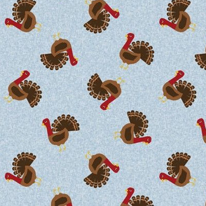 turkey toss fabric - turkey fabric, thanksgiving fabric, fall, usa, american holiday - blue