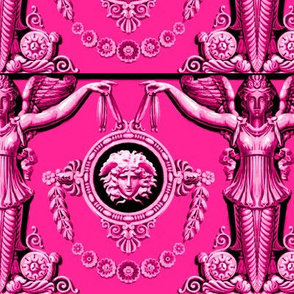 angels  medallion medusa head portrait baroque rococo festoon wreath garland swags flowers floral leaves leaf Versace inspired Victorian Fuchsia magenta purplish red acanthus flourish pillars swirls goddess roman greek