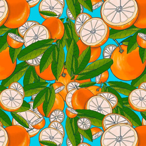 Fruity Moments-Orange Slices sky blue