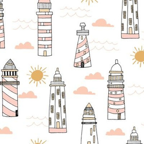 lighthouses fabric // blush and sand light pastel lighthouse fabric, nautical fabric, andrea lauren