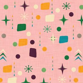 Atomic Pattern Pink Green  #midcenturymodern