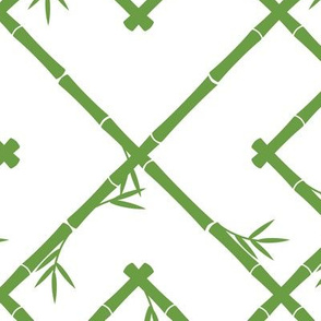 Bamboo Chinoiserie Lattice in White + Green LARGER SCALE