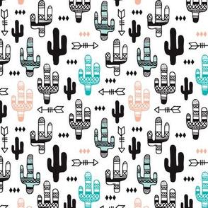 Fun aqua and coral pink cactus garden indian summer arrows geometric illustration pattern kids print small