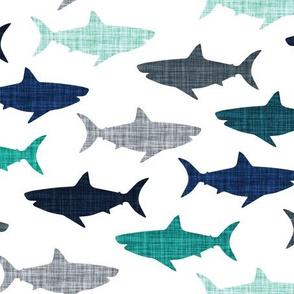 linen sharks // on white