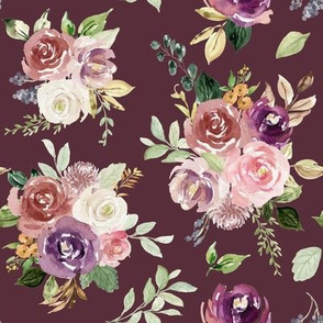 Vintage Fall Roses // Plum Burgundy