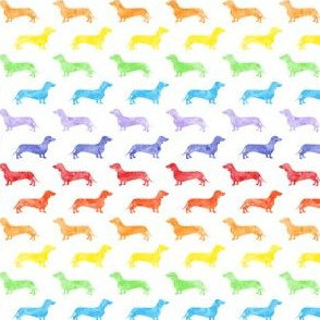 (small scale) Weiner dog fabric - Dachshund -  watercolor rainbow  C19BS