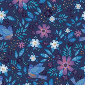 Blue bird floral, mid sized on navy