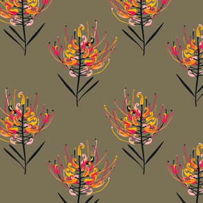 Grevillea Blossoms khaki background by Mount Vic and Me