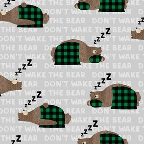 (small scale) don't wake the bear -green on grey  ZZZs C19BS