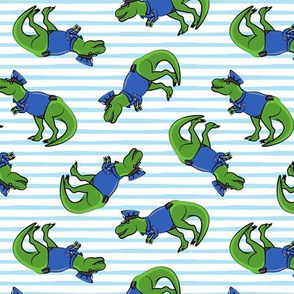 Police Trex - Dinosaur -  blue stripes - LAD19