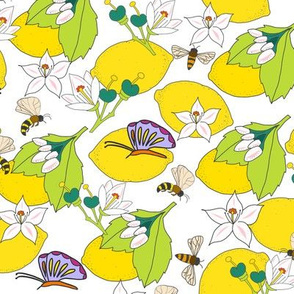 Lemons with butterflies and bees