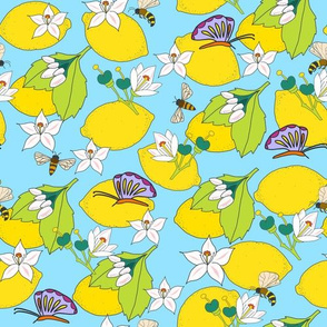 Lemons with butterflies and bees on blue